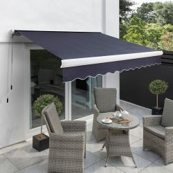 4.5m Full Cassette Manual Awning, Plain Dark Blue